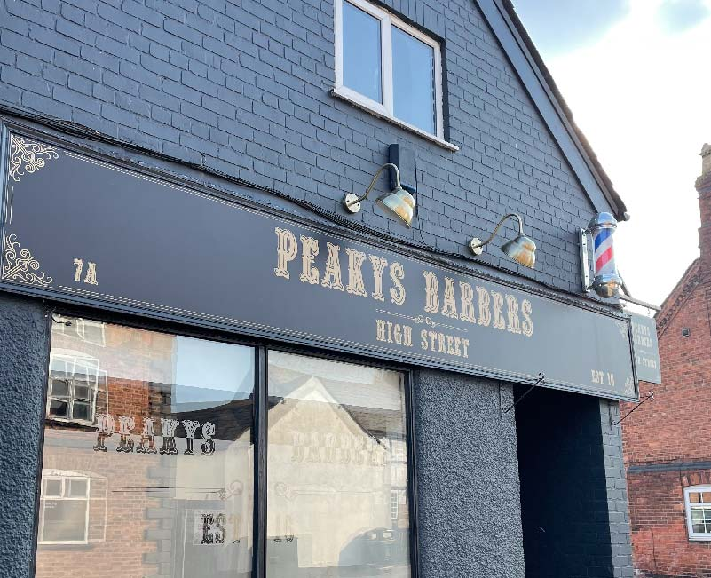 Peaky Barbers Shop Front Signage Side