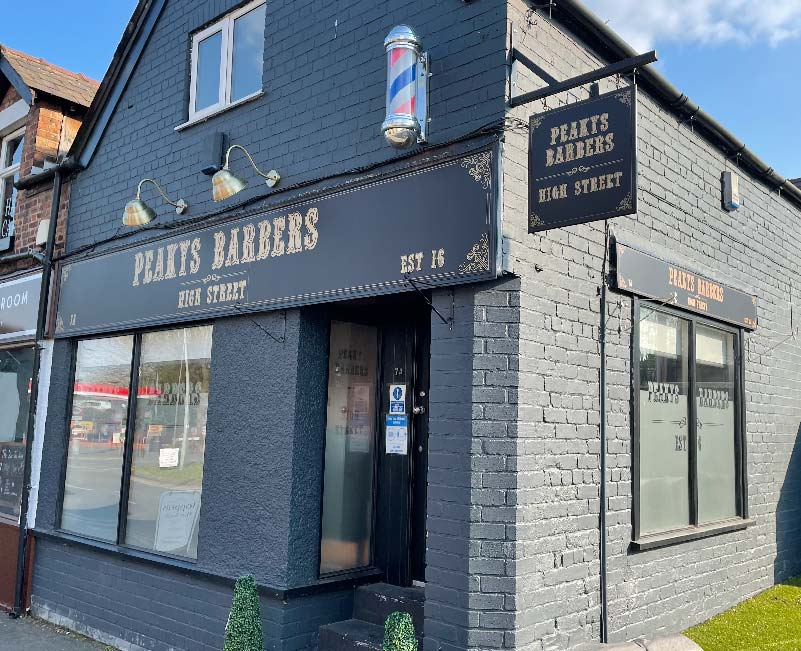 Peaky Barbers Shop Front Signage