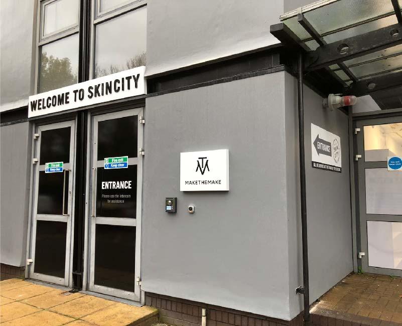 Skin City Shop Front Entrance Signage